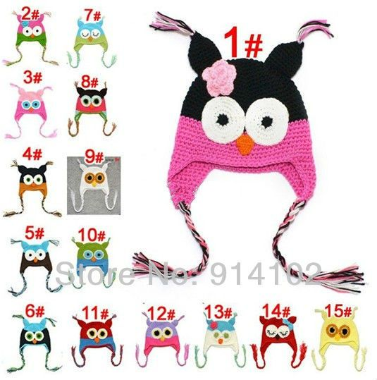 Multicolor Infant Toddler Handmade Knitted Crochet Baby Hat owl hat Cap with ear flap Animal Style For Girl Boy GiftFreeShipping