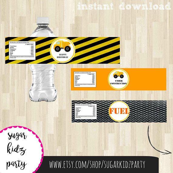 70% construction party labels, water bottle labels, kids party decor, kids party labels, bottle wrappers, construction labels, kids birthday