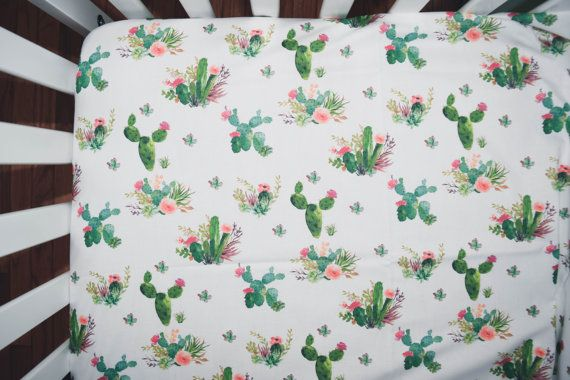 Cactus with flowers crib sheet - fitted crib sheet in aztec tribal theme - aztec or boho themed nursery - green and pink succulent