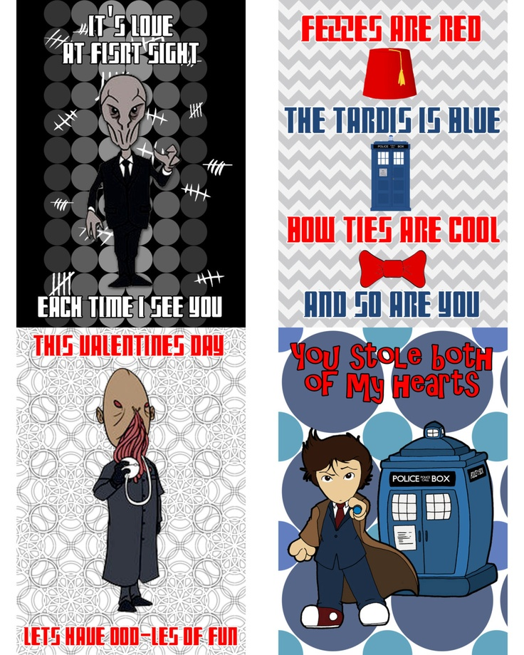 doctor who valentines day cards printable