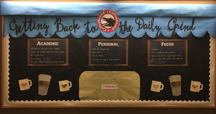 "Getting Back to the Daily Grind January bulletin board. Content is on the cafe ""chalkboards"": academic, personal, and focus headings offer tips and tricks to succeed in the new semester.  Designed to look like a local coffee shop, could be adjusted to be any coffeshop (Starbucks, etc).  #RA, resident assistant, res life, residence life, college, university, dorm, residence hall, coffee, cafe, January, honors, floor"