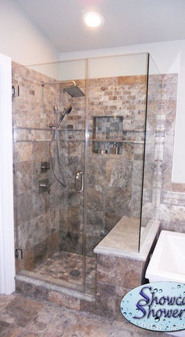 bench at different height from tub corner showers showers louisville showcase showers inc