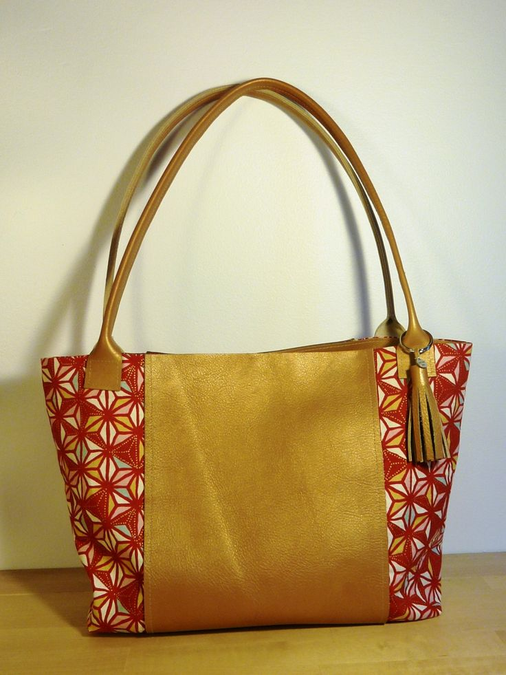 Handmade Cloth and Leather Tote - Large by JacquiInc on Etsy