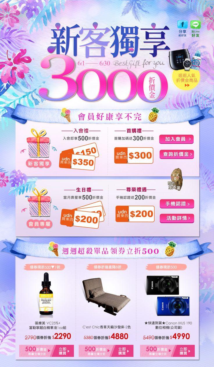 新客獨享1500折價金,入會禮送500,首購禮送300,生日禮送500,尊榮禮遇送200