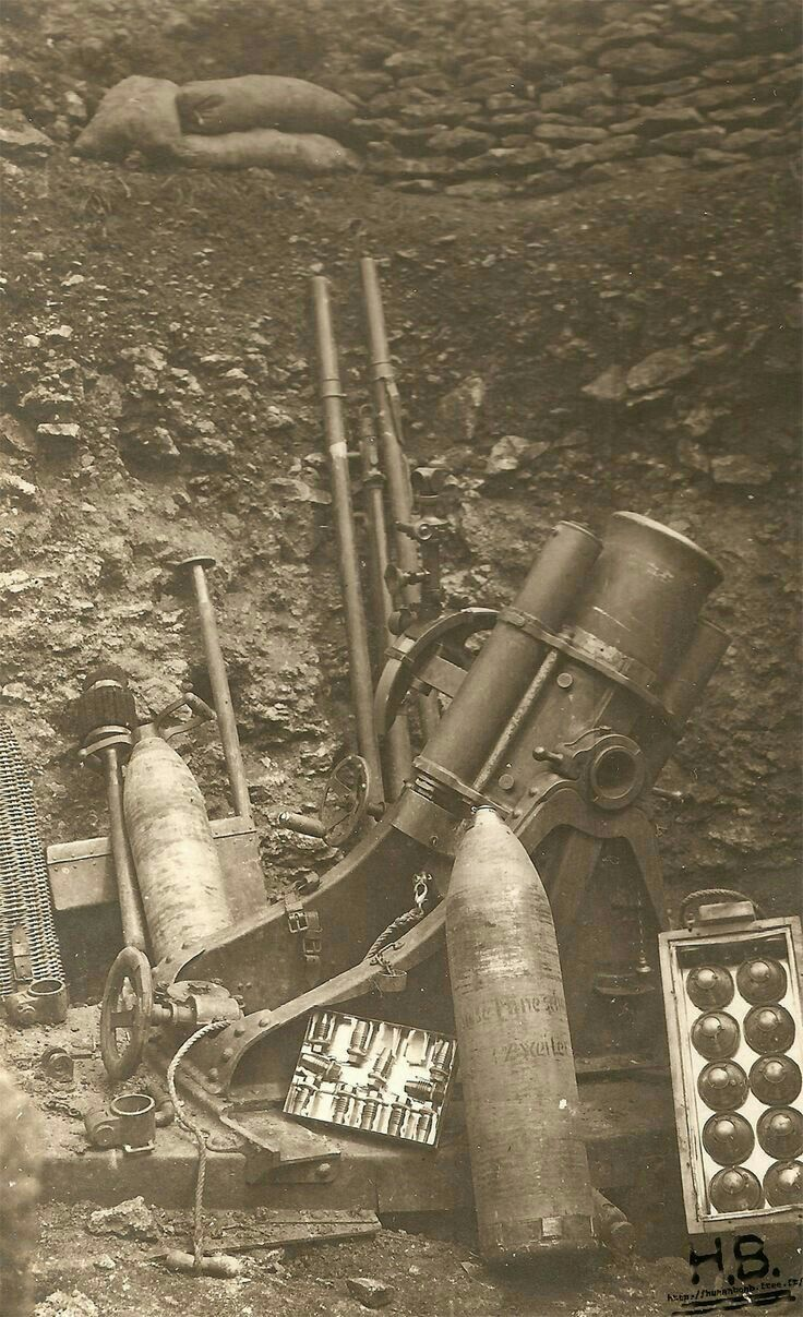 German 'minenwerfer' with shells and other accessoires. WW I