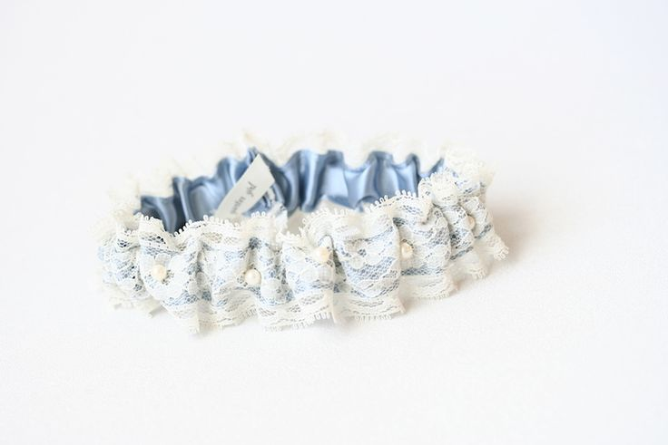 Blue and lace wedding garter made from the brides mothers wedding dress-by The Garter Girl
