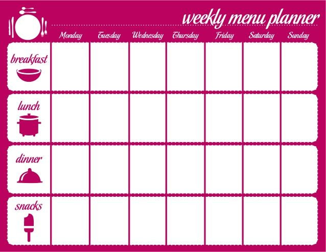 The 25 best ideas about Weekly Menu Template – Meal Calendar