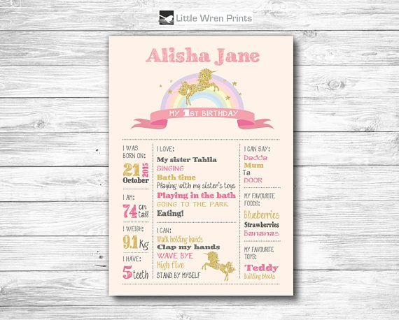 Birthday Milestone Poster Chalkboard print unicorn first 1st birthday party Pink Gold