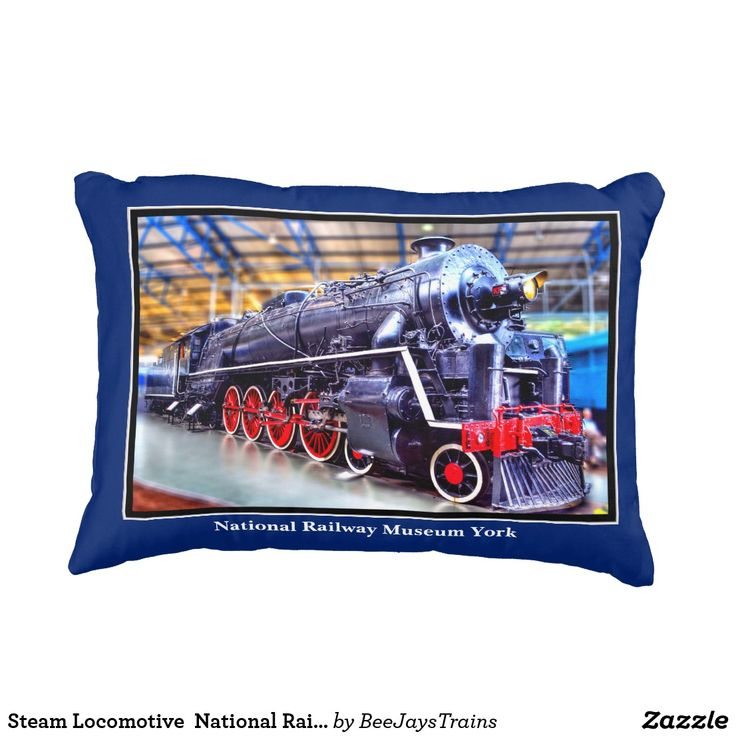 Steam Locomotive at the National Railway Museum Cushion Throw Pillow on Black Background on One Side and Blue Background on the Other Side - You can change these colors if you wish. A Great Christmas Gift or Birthday Present for your Train Fan.