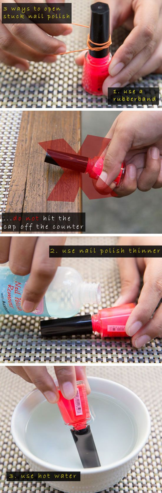 3 Ways to Open a Stuck Bottle of Nail Polish | 21 Life Hacks Every Girl Should Know | Makeup Tips and Tricks Hacks DIY