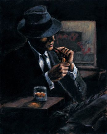 this a painting but it uses the chiaroscuro effect as its clear light to dark and we have a scene a detective sits drinking whiskey
