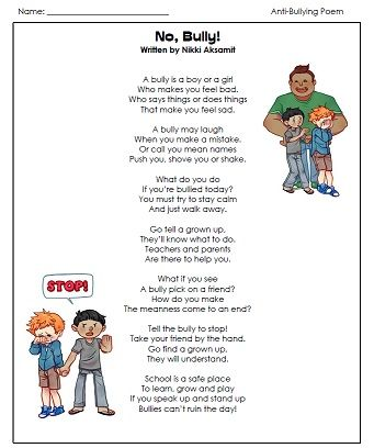 Visit our Anti-Bullying page for poems and stories to read and discuss with your students and children.