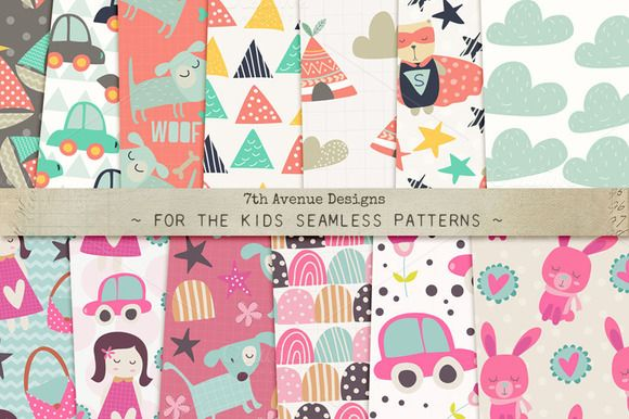 For the Kids Seamless Patterns by 7th Avenue Designs on @creativemarket