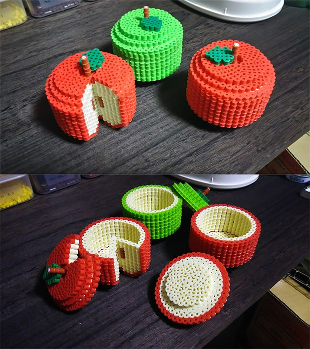 3D Fruit boxes perler beads