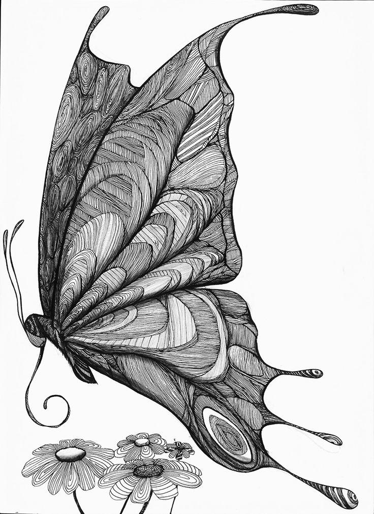 #나비 #일러스트 #일러스트레이션 #손그림 #펜화 #꽃 #flower #illust #illustrator #doodle #doodling #artwork #art #penart #lineart