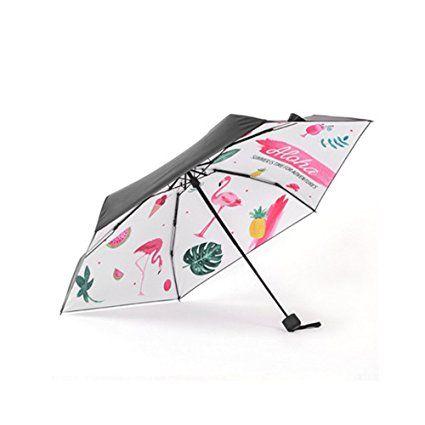 Bonamana Einhorn-Muster-Regenschirm 5-faltender gehender Regenschirm Winddichter Anti-UV Sun-faltender Regenschirm (Flamingo-5 Fold)