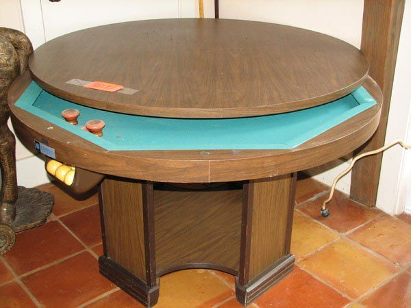 Nice Round Pool Table | 9513: LARGE ROUND BUMPER POOL TABLE WITH REMOVAL TABLE :  Lot