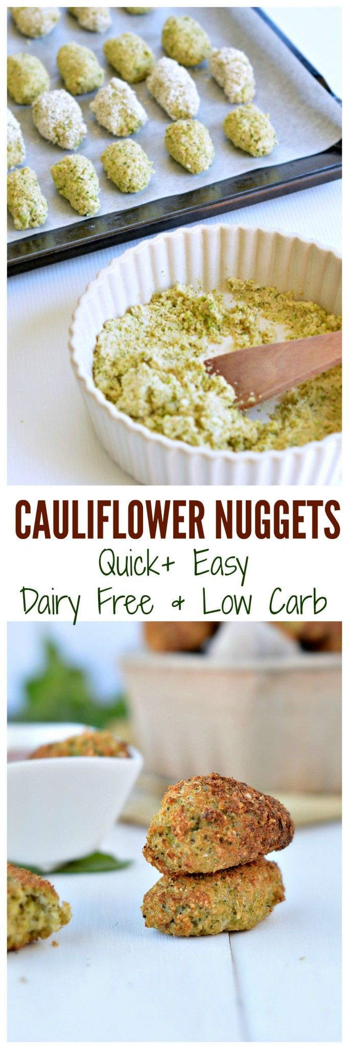 Those Baked cauliflower nuggets take 10 minutes to prepare, 20 minutes to bake and are super heathy as finger food dinner, appetizers or for kids lunchbox. It is moist and crispy! Dairy free and low carb with a gluten free and paleo recipe option.