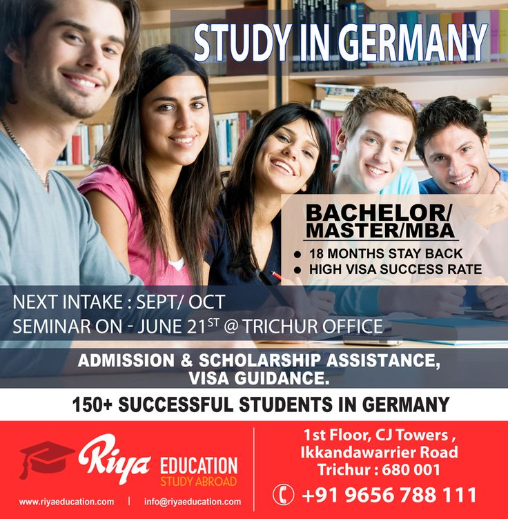 Study in Germany !!! Seminar on June 21st @ Trichur Office Those who wish to know more details can get in touch with Riya Education. Visit our website http://www.riyaeducation.com/contact/ #studyingermany #abroadeducation #studyabroad