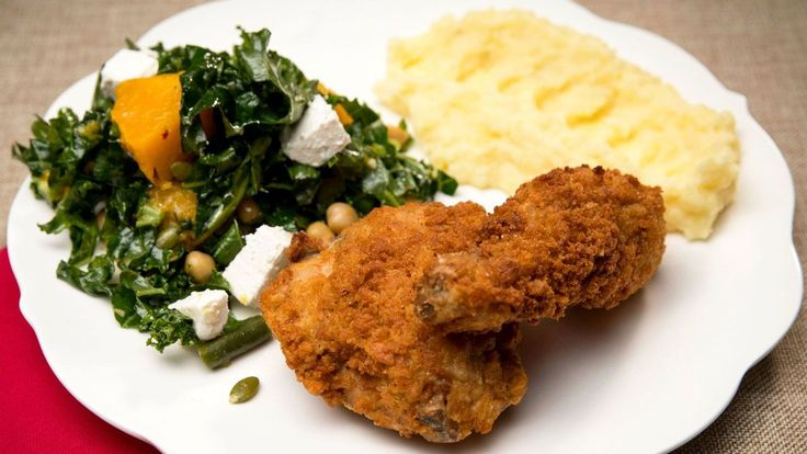 Fried Chicken with Mash and Kale and Pumpkin Salad | 9Now