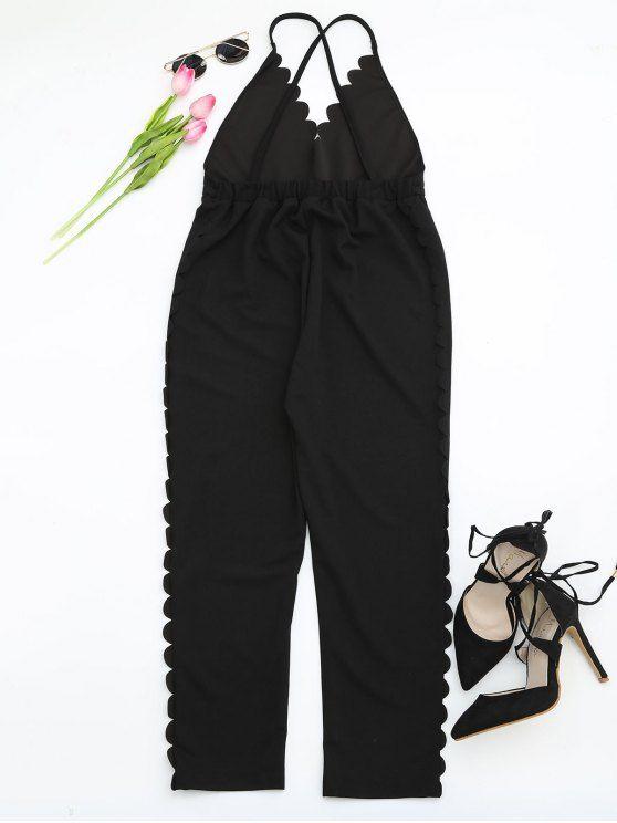 Scalloped Straight Cut Suspender Pants - BLACK S