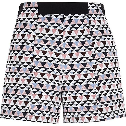 White geometric print high waisted shorts - smart shorts