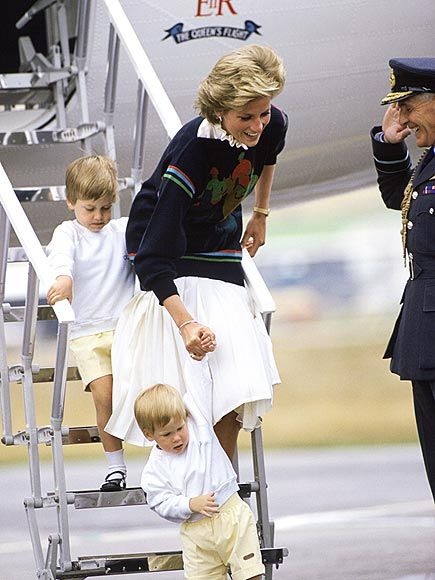 """HEIR AND HEIR ALIKE Diana helps her matching towheaded sons William, 4, and Harry, nearly 2, navigate a safe landing at the Aberdeen Airport, where the family headed for a summer vacation in 1986. """"It would have been a little tricky if it had been two girls,"""" Diana told the BBC. """"William's future being as it is, and Harry like a form of a back-up in that aspect."""""""