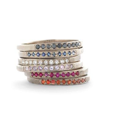 Ringen met gekleurde steentjes   Wim Meeussen Goudsmid Antwerpen