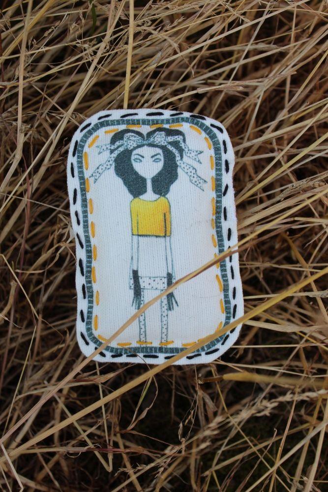 "Брошь ""Naive fabric"" №16  Текстильная брошь из коллекции  ""Naive fabric""   Печать по ткани Автор рисунка Афанасьева Саша  5,5*8,5см   #Mode #texture #vogue #style #craze #Rage #Fashion #Pin #Brooch #Broach #Handmade #Tree #Wood #Tissue #textile   #fabric #Cloth #Material #Web #Painting #Drawing #design #originally #individually #sweet #girl #beads  #embroidery"