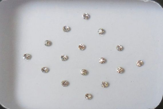 80 White Crystal fake nose stud white clear Bindis small size bindis Indian face jewels forehead tikka bellydance