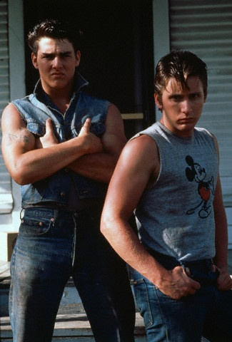 Tom Cruise and Emilio Estevez in THE OUTSIDERS (1983).