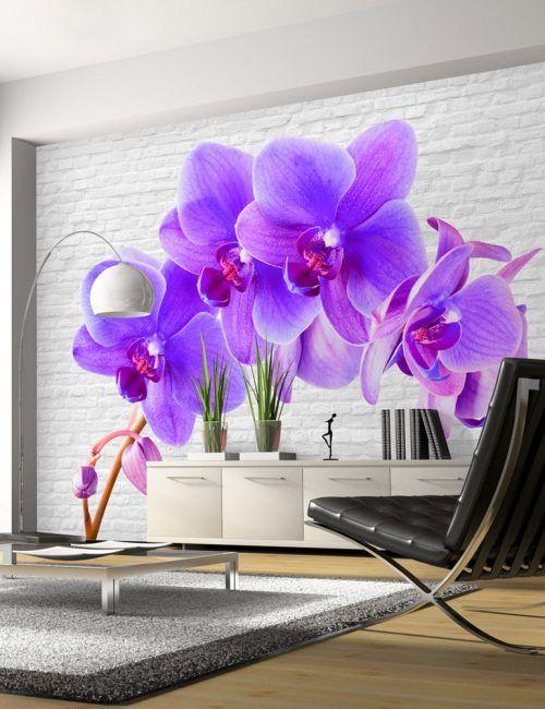 Carta da Parati Orchidee Viola Carta da Parati Fotomurale a Tema Natura e Fiori