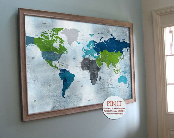 large push pin map map art inches world by texturedink
