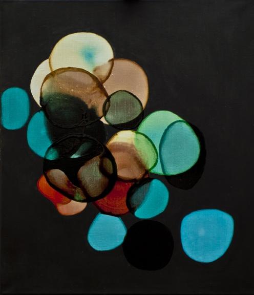 2012-003 • shine balls - fénygömbök 3 70 x 60 cm - acrylic and lacquer on canvas - akril, lakk, vászon - romvári márton contemporary art