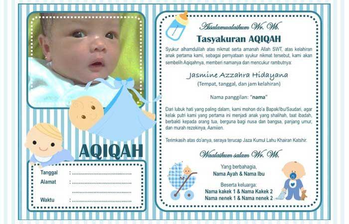 Contoh Undangan Aqiqah Untuk Anak Perempuan Dan Laki Laki Bisa Diedit Penulis Cilik Kelahiran Anak Kartu Bayi Anak
