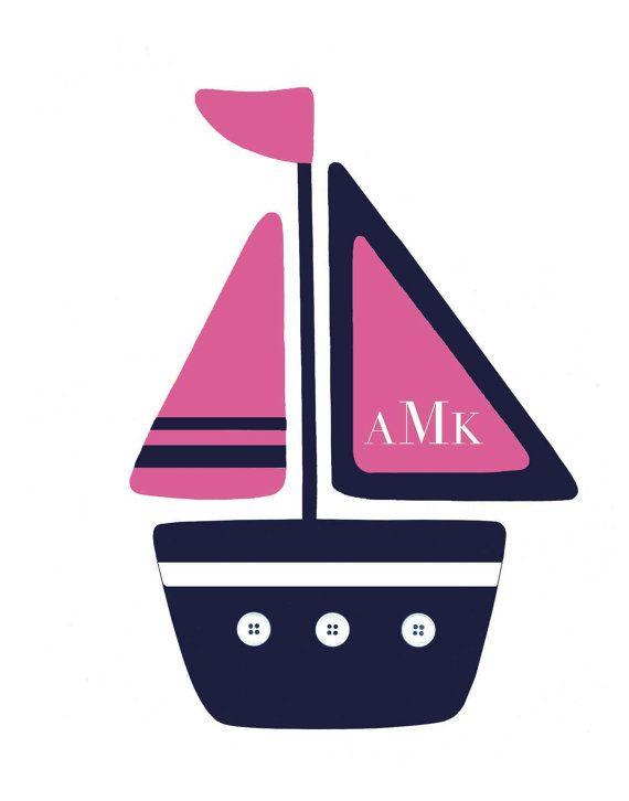 GIRLS NAUTICAL DECOR Pink Navy nursery Anchor by PeanutAndButtons