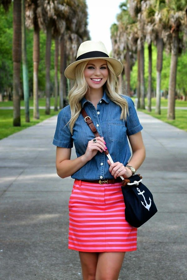 Denim shirt and striped shirt with nautical purse- BowsandDepos