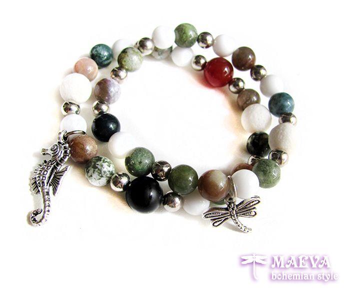 http://maevabohemian.com/Bracelet%20Modern%20Style?product_id=82&limit=100 #gemstone #set #bracelets #seahorse #dragonfly #agate #onyx #stretch bracelets #bohemian #jewelry #boho set
