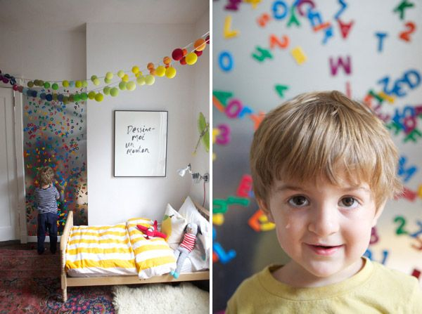 This is great for nursery/kid's room. We have so many colorful magnets that are large and will keep his eyes busy. Can't believe how easy it is to make!! Follow link