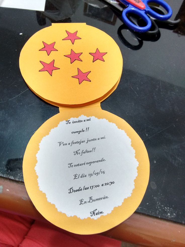 Tarjeta de invitacion de Dragon Ball Z                                                                                                                                                      Más