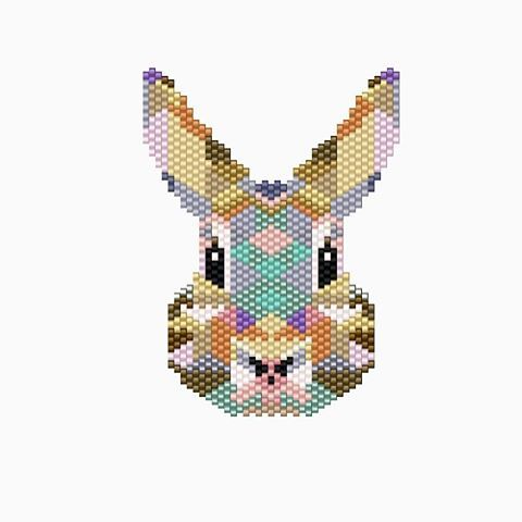 #diagrammeperles celui ci je le trouve mieux que l'autre, c'est le vrai fils à son père, les couleurs sont mieux organisées... #jenfiledesperlesetjassume #perlesaddictanonymes #lapinrikiki #enfinlapinnormalquoi #miyuki #miyukibeads #rabbit #pattern