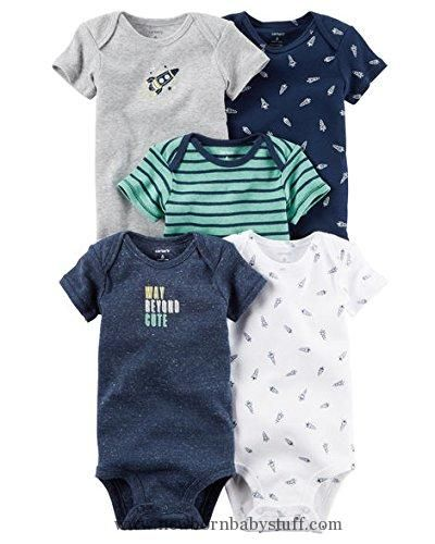 Baby Boy Clothes Carters Baby Boys 5 Pack Bodysuits (Baby) (Newborn, Navy Spacesuit)
