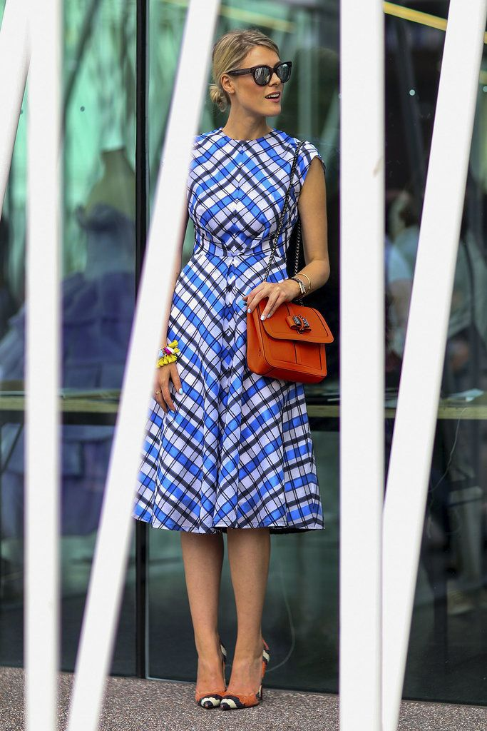 Best #streetstyle @ Spring 2015 Ready-to-Wear Milan Fashion Week #MFW | a square print midi dress styled with an orange crossbody handbag and Christian Louboutin snake print pumps