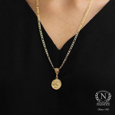 925 Ayar Gümüş Bereket Sembolü Madalyon Kolye, Sarı