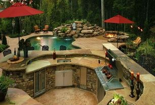 Rustic Patio with Fire pit, Outdoor kitchen, exterior stone floors, Fountain