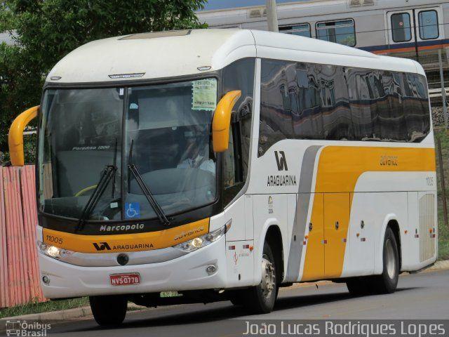 Ônibus da empresa Viação Araguarina, carro 11005, carroceria Marcopolo Paradiso G7 1200, chassi Scania K340. Foto na cidade de Brasília-DF por João Lucas Rodrigues Lopes, publicada em 31/10/2016 22:11:48.