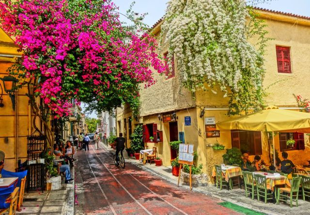 The Plaka District of Athens - can't wait to go back some day!  Sidewalk cafes, open air markets and ocean breeze!