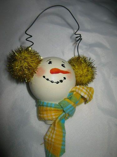 Lightbulb Ornaments | Hand Painted Snowman Light Bulb Christmas Ornament | Christmas