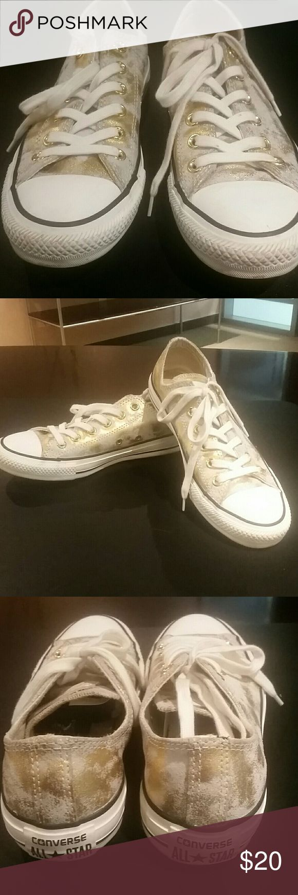 Ladies Converse Cute lady convers white with gold specs, size 8, great and comfy condition Converse Shoes Sneakers