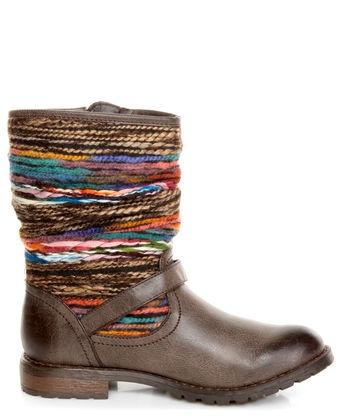 Dollhouse Yarn Brown Multi Yarn-Striped Ankle Boots...cute